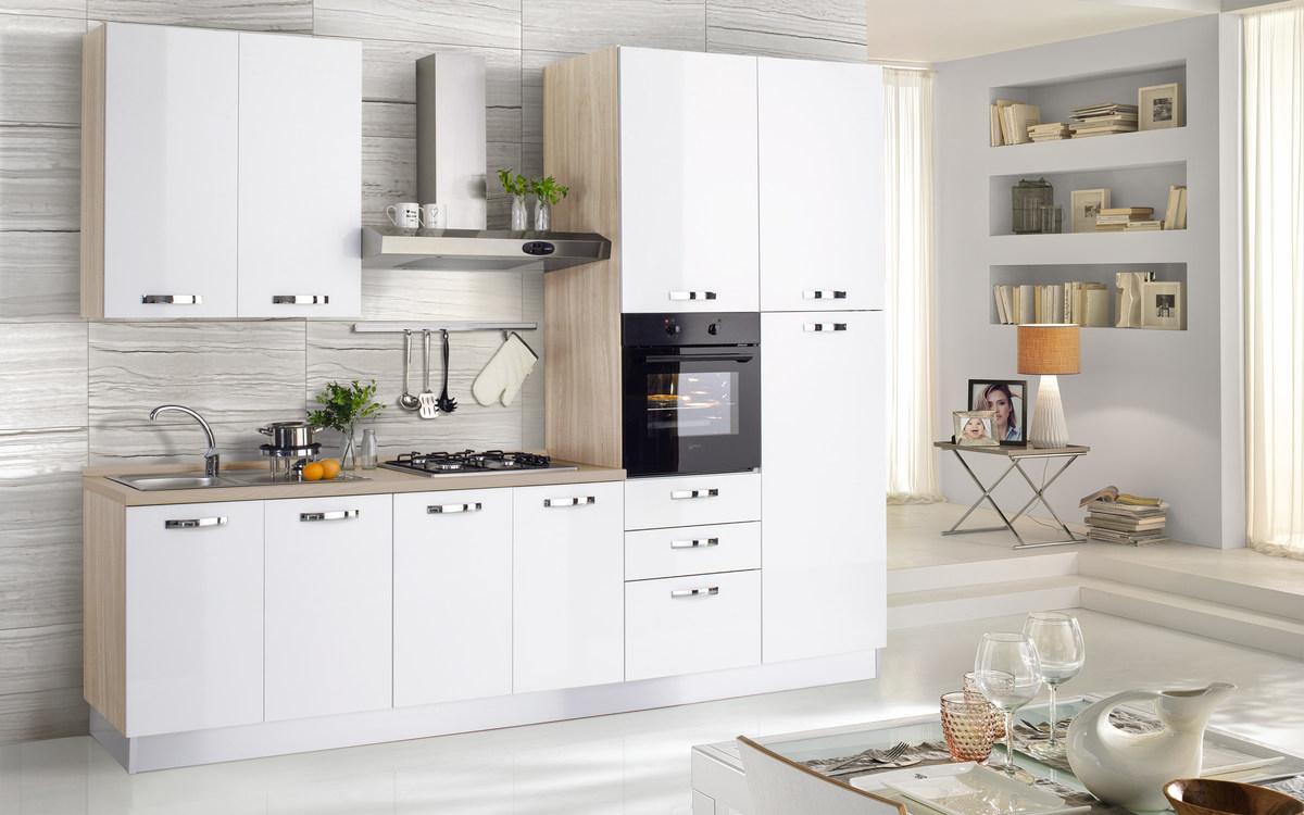 Cucina bloccata composizione destra, effetto olmo naturale, bianco ...