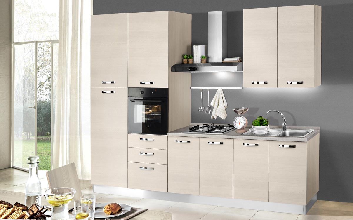 Cucina bloccata composizione sinistra, effetto pino chiaro ...