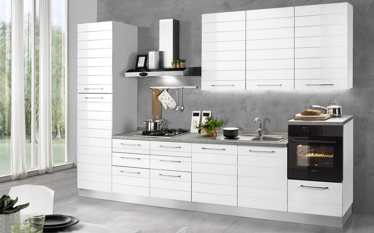 Cucina bloccata composizione sinistra, bianco, bianco lucido ...