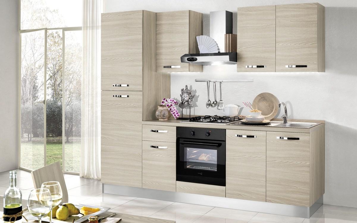 Cucina bloccata composizione sinistra, effetto olmo naturale ...