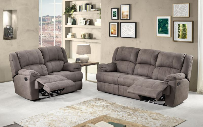 Divano 3 posti con 2 recliner manuali Similpelle effetto nabuk elephant - Barbados |  76DY 04