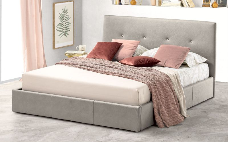 Letto matrimoniale con contenitore Similpelle effetto nabuk light grey - Bloom |  IT4E 01