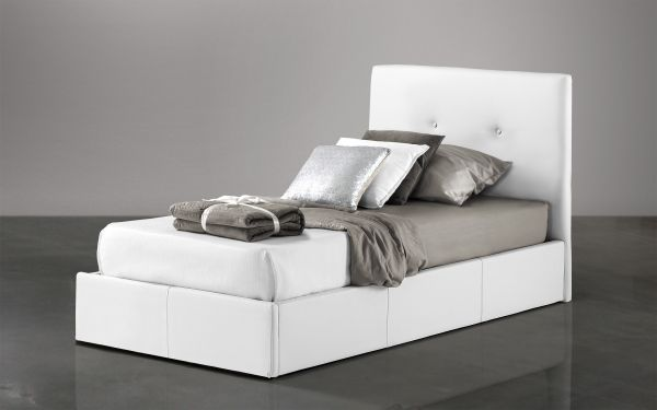 Letto singolo Similpelle bianco - Bloom |  UMDP 02