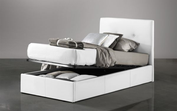 Letto singolo Similpelle bianco - Bloom |  UMDP 03