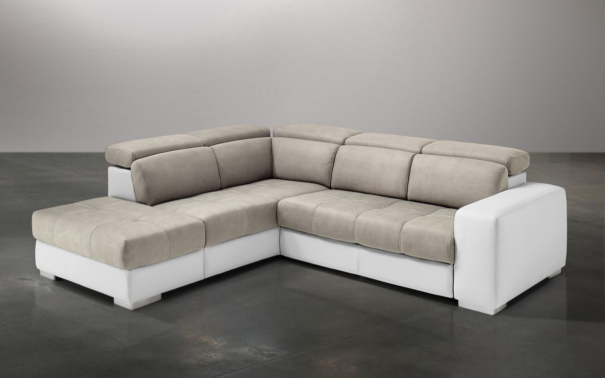 Divano letto angolare Similpelle bianco, similpelle effetto nabuk light grey -  |  82S4 01