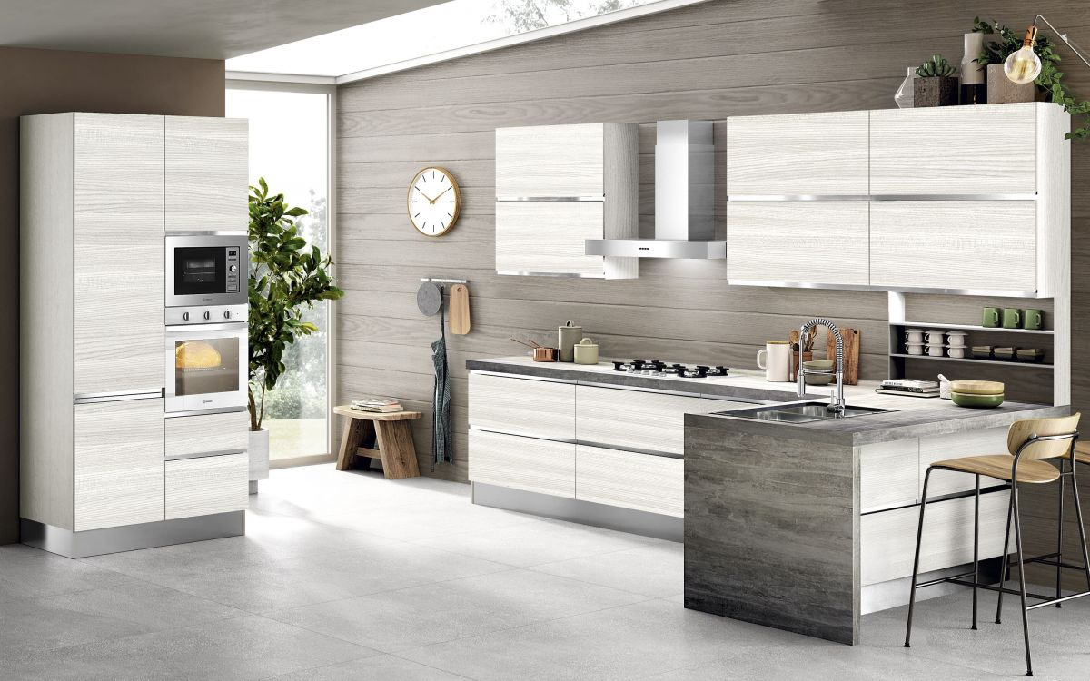 Cucina componibile effetto olmo bianco - Selly |  J0IP 01