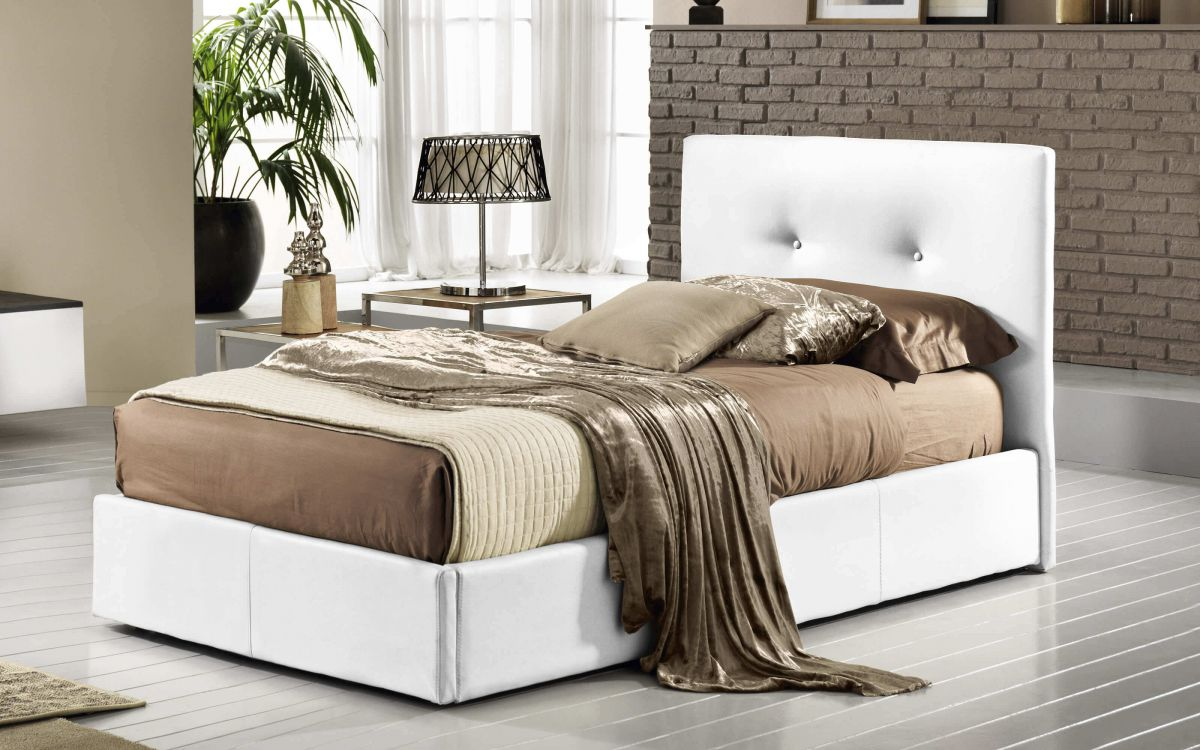 Letto singolo Similpelle bianco - Bloom |  UMDP 01