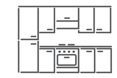 Cucina componibile, effetto noce grigio lucido, noce bianco lucido ...