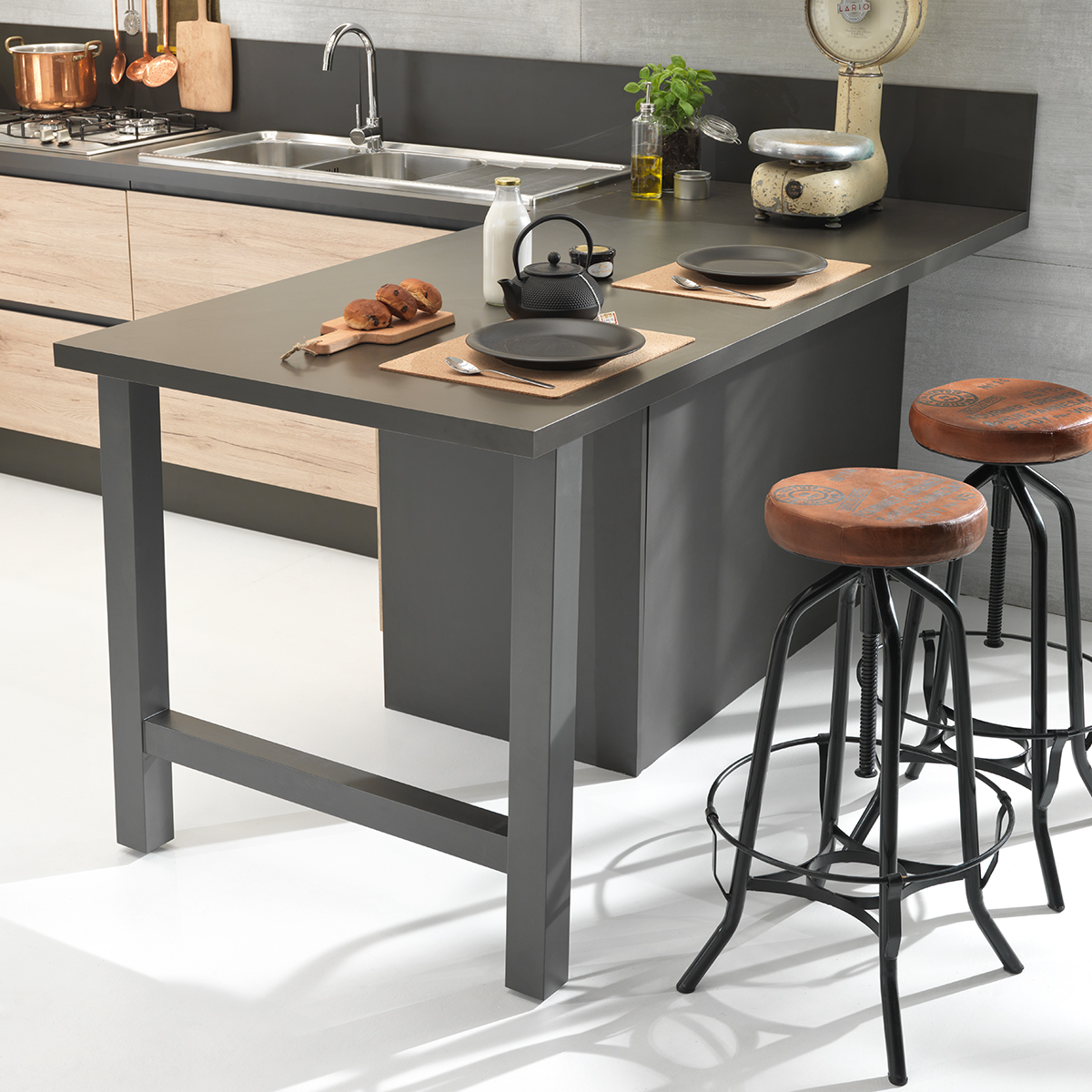 Cucina componibile, ghisa, effetto quercia naturale | : Oasi XAQ8